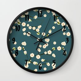 Cherry Blossoms on Blue Background Wall Clock
