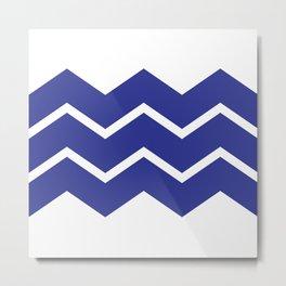 Blue Chevron Zig Zag Metal Print