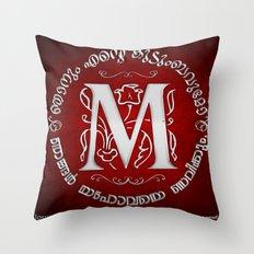 Joshua 24:15 - (Silver on Red) Monogram M Throw Pillow