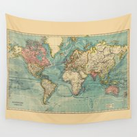 vintage map Wall Tapestries featuring Vintage map by Hipster's Wonderland
