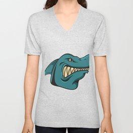 Shark Face Funny Funny Gift Unisex V-Neck