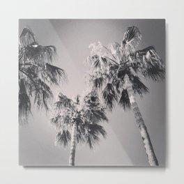 3 Palms Black & White Metal Print