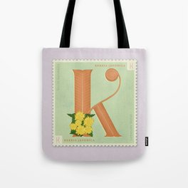 Sellos Naturales. Letter K. Flower: Kerria Japonica or Japanese Rose Tote Bag