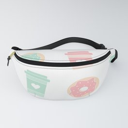cute colorful donuts and coffee pattern background illustration Fanny Pack