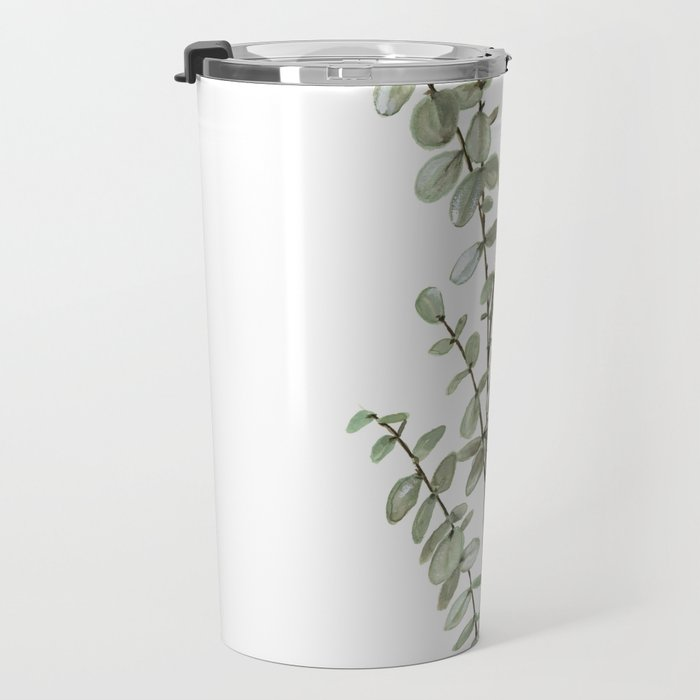 Baby Blue Eucalyptus Watercolor Painting Travel Mug