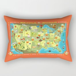 Waffle World Map Rectangular Pillow