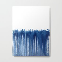 Indigo Abstract Brush Strokes | No. 5 Metal Print