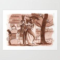 Sepia vintage couple Art Print