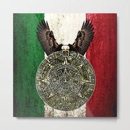 MEXICAN EAGLE AZTEC CALENDAR FLAG Metal Print