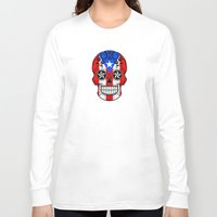 puerto rico Long Sleeve T-shirts featuring Sugar Skull with Roses and Flag of Puerto Rico by Jeff Bartels