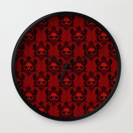 Halloween Damask Red Wall Clock