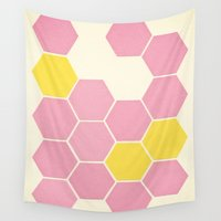 honeycomb Wall Tapestries featuring Pink Honeycomb by Cassia Beck