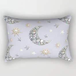 Vintage Button Moon and stars on grey Rectangular Pillow