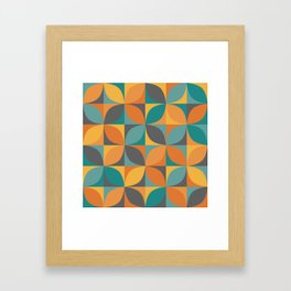 Retro geometric pattern in 1960s colors Framed Art Print