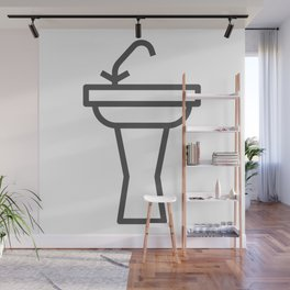 Faucet and sink bathroom elements in Design Fashion Modern Style Illustration Wall Mural