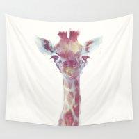 giraffe Wall Tapestries featuring Giraffe by Amy Hamilton