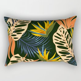 Abstract seamless tropical pattern with bright plants and leaves on a dark background. Exotic jungle wallpaper. Colorful stylish floral. Vintage pattern. Rectangular Pillow