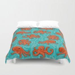 Fun orange octopus on turquoise background. Duvet Cover