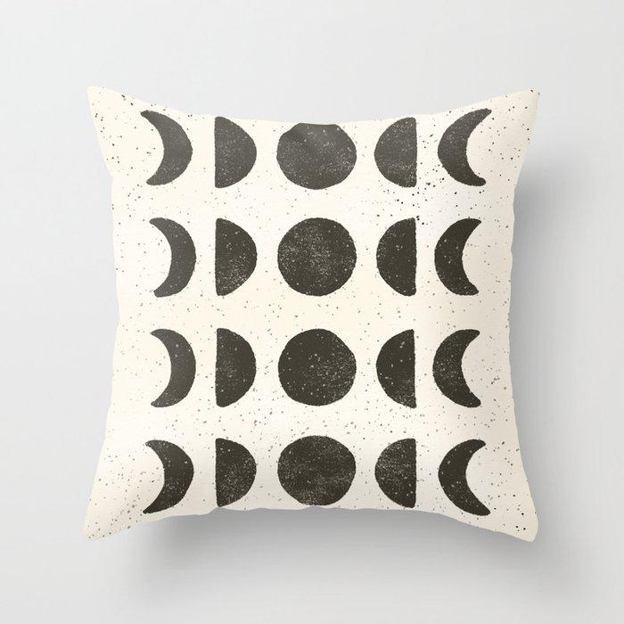 Moon Phases - Black on Cream Throw Pillow