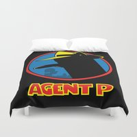 platypus Duvet Covers featuring Agent P by Moysche Designs