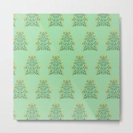 Indian Flower Motif Pattern - Illuminating Yellow & Green Ash Metal Print