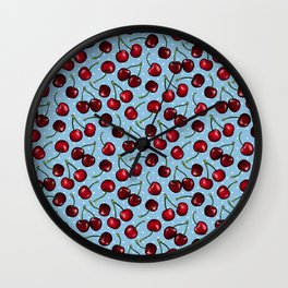 Cherry Cherries with Polka Dots in Blue Wall Clock