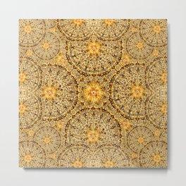 Golden Thread Mandala Metal Print
