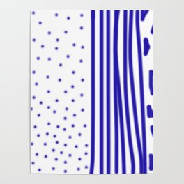 Ethnic dots blue on white Poster