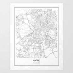 Madrid, Spain Minimalist Map Art Print