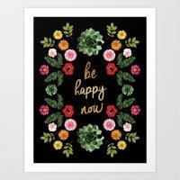 FLORAL CROWN BE HAPPY Art Print