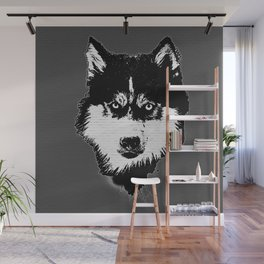 husky dog face grafiti spray art Wall Mural