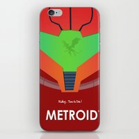 metroid iPhone & iPod Skins featuring Vector Metroid by LoweakGraph