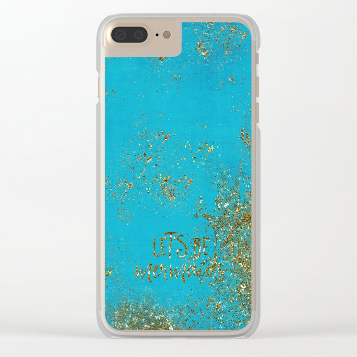 Let's be memaids Gold faux Glitter for Mermaid Girls Clear iPhone Case