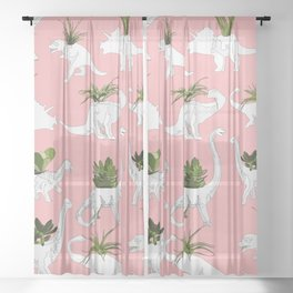 Dinosaurs & Succulents Sheer Curtain