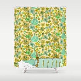 large retro flower daydreams // by surfy birdy Shower Curtain