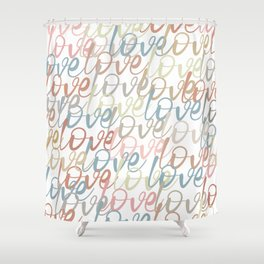 Love, Quote, Happy, Pattern Shower Curtain