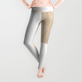 Simply Geometric in White Gold Sands on White Leggings