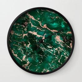 Modern rose gold marble green emerald watercolor pattern Wall Clock
