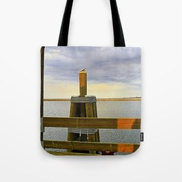 Bird on Gulfport Pier Tote Bag