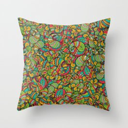 Paisley cucumbers pattern Throw Pillow