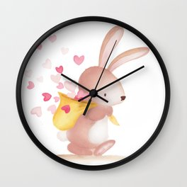 Woodland Critters - Bunny with Sack of Hearts Wall Clock