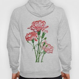 pink and red carnation watercolor painting Hoody
