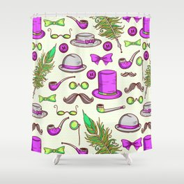 Retro gentlamen pattern Shower Curtain
