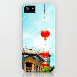 Travel photography Chinatown Los Angeles VI temple with lamps iPhone Case