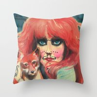 michael myers Throw Pillows featuring Vali Myers by Cathy FitzGerald