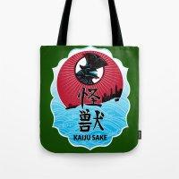 kaiju Tote Bags featuring Kaiju Sake by zerobriant