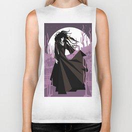 dark gothic black dress woman holding a crow bird in the night Biker Tank