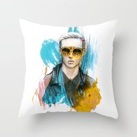 tom selleck Throw Pillows featuring Tom by Krister Selin