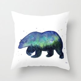 Polar Bear Silhouette with Northern Lights Galaxy Throw Pillow
