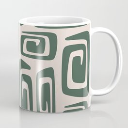 Mid Century Modern Cosmic Abstract 514 Green and Beige Coffee Mug